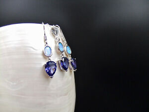 Jewellery Set, Blue Opal, Tanzanite, Sterling Silver, Necklace & Earrings