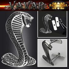 For Ford 3D Metal Finished Silver Snake Cobra Front Grille Grill Badge Emblem