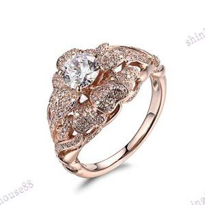 Fine Jewelry Flower Round 5.5mm White Topaz SI/H Diamond Ring Sold 14k Rose Gold