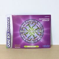 Who Wants To Be A Millionaire GBA Game Boy Advance Instruction Booklet Manual