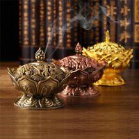 Chinese Lotus  Incense Burning Box Holder Flower Statue Censer Room Decor