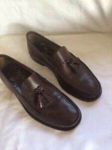 Mens CHURCH'S Conker Brown LEATHER Tassel LOAFER SHOES Size 8