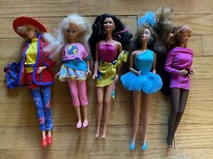 Barbie Doll Lot of 5 Dolls 1980s 1990s Outfits Mattel Skipper?