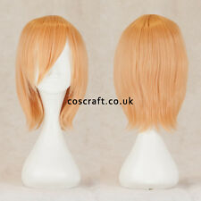 Short medium straight layered cosplay wig in peach blonde, UK SELLER, Lily style