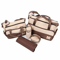 5pcs Baby Diaper Nappy Changing Bag Set Mommy Handbag Mat & Bottle Holder Brown