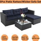 3 Pcs Patio Rattan Wicker Sofa Set Cushined Couch Furniture Outdoor Garden, Blue