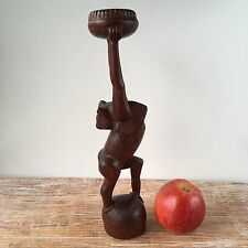 Vintage Old African ABSTRACT DEITY Sculpture WOODEN Carved Statue Art #136