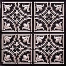PVC Faux Tin Ceiling Tiles 24 x 24 2x2 Glue Up Antique Silver D148