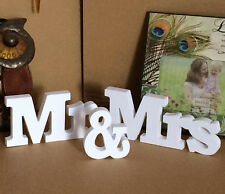 New Mr & Mrs Wedding Reception Sign Solid Wooden Letters Table Centrepiece Decor