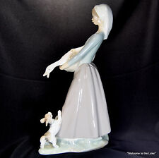 Lladro - Girl with Goose in Hand, Puppy Barking, #4866