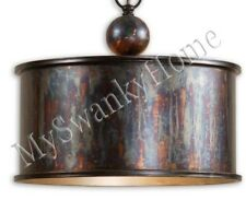 Oxidized METAL Pendant NEIMAN MARCUS Hanging Light Vintage NEW Bronze Copper