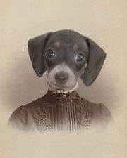 Victorian Dachshund Art Print 8 x 10 - Altered Art - Wiener Dog Woman - Surreal