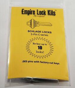 Schlage Rekey Kit 10 Locks 5-Pin Key SC1 Bottom Pins With Factory Cut Keys