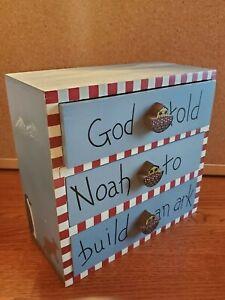 Vintage Wood Painted Noah's Ark Mini Chest of 3 Drawers Trinket Box. CUTE!!