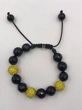 12mm Shamballa Beaded Adjustable Bracelet Genuine Black Onyx Hand Set Crystals