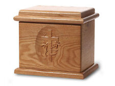Wood Cremation Urn. Deluxe model with a Natural Finish with Cross Image