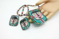 1970's big chunky wood painted face necklace earring set 80's fashion Retro VTG