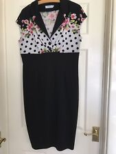 Rockabilly Pencil Wiggle Dress Black Flowers Polka Dot Bodycon Fitted Size 16