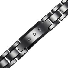 Black ceramic with white CZ MEN Carbide Bracelet Magnetic stone HIGH-TECH CR20