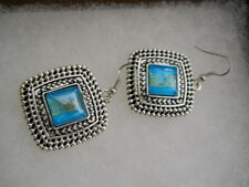 Stone Square Pierced Wire Earrings-Nex Sterling Silver & Turquoise Glass Looking