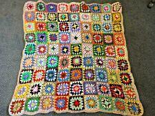 """70's vintage style granny squares crochet blanket/throw 44"""" x 41"""" white edge"""