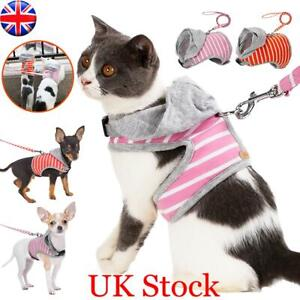 Small Dog Cat Harness Clothes Jacket Puppy Kitten Pug Vest Walking Leash Lead UK