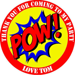 24 x Personalised Superhero Birthday Stickers Party Thank You Sweet Cone Bags