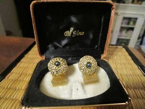 Vintage Gold Tone Authentic Grey Pearls Mesh Wrap Cuff Links Mid-Century