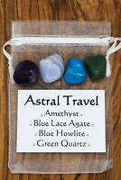 Astral Travel Crystal Set Amethyst Blue Lace Agate Blue Howlite Green Quartz