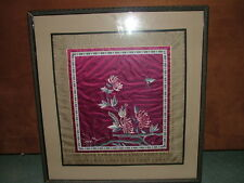 Antique  Chinese Forbidden Stitch Embroidery Silk Panel In Picture Framed