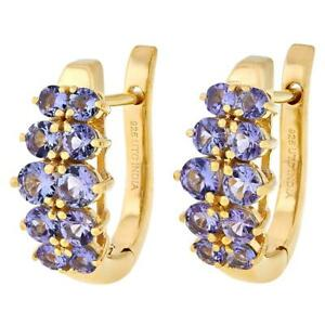 Paul Deasy Gem Gold-Plated Two-Row Tanzanite Round Gemstone Earrings Hsn $230
