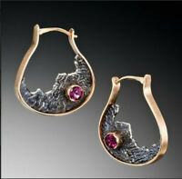 18K Yellow Gold Filled Alexandrite Ear Hoop Drop Dangle Earrings Women Jewelry