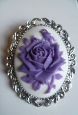 Purple Rose Brooch Medieval Pin Rose Cameo Wedding Pin