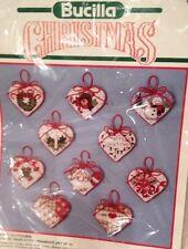 NIP Bucilla Christmas Ornaments HEART POTPOURRI Counted Cross Stitch  Set of 10