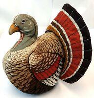 "Vintage 15"" Canvas Fabric Handmade Turkey Gobbler Thanksgiving Centerpiece Plush"