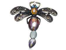 Chic Reproduct Acrylic Beaded Color Dragonfly Clearable Pin Brooch Ela