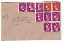 1946 Tilburg Netherlands, Airmail to Toronto Canada Ten Stamps