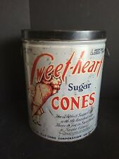Vintage Sweet-Heart Sugar Cones Ice Cream Cone Advertising Tin