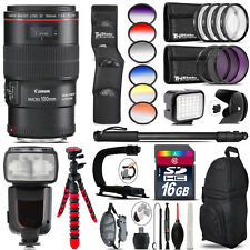 Canon EF 100mm 2.8L IS USM Lens + Pro Flash + LED Light - 16GB Accessory Bundle
