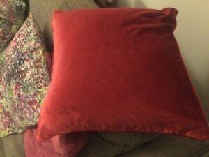 Laura Ashley red velvet cushion