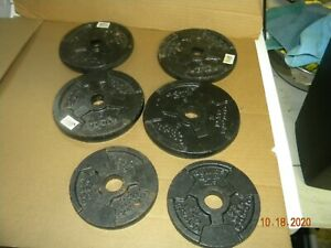 "Golds Gym (4)  5 lb  & (2) 2 1/2 lb Weight Plates Standard 1"" hole (25 lb total)"