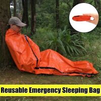 Outdoor Camping Thermal Emergency Sleeping Bag Survival Blanket Gear Kit