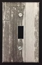 White Planks Light Switch Cover Aged Wooden Planks Vintage Looking Country Decor