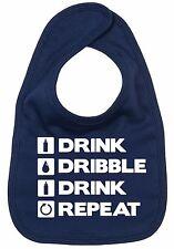 "Funny Baby Bib ""Drink, Dribble, Drink, Repeat"" Feeding Boy Girl Newborn Gift"
