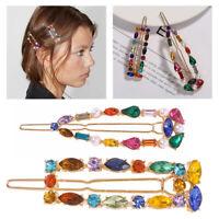 Women Girls Crystal Hair Clip Diamond Hairpin Barrette Slide Grips Acces