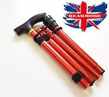 RED Cane Walking Adjustable Stick Foldable Fold Up Travel Tip Slip Aluminum uk