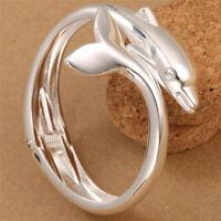 925 Silver Women Jewelry Charm Dolphin Cuff Animal Bracelet Fashion Bangle Gift