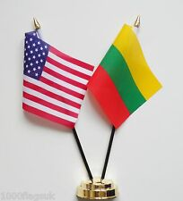 United States of America & Lithuania Double Friendship Table Flag Set