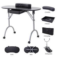 Foldable Manicure Nail Table Black Portable Station Desk Spa Beauty Salon