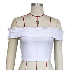 Women Ladies Charm Off Shoulder Blouses Slim Crop Tops Solid T-Shirt Summer